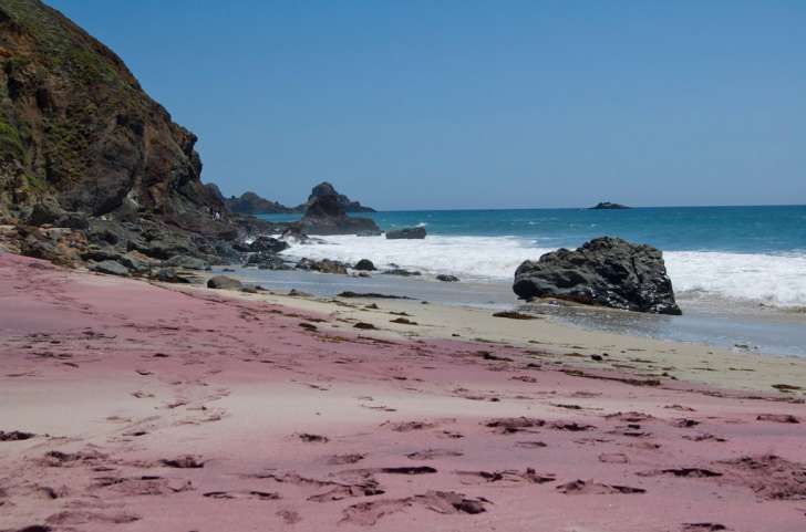 """Manganese garnet, washed down from the hillside above, gives Pfeiffer Beach its distinctive purple sand. The further north you go, the more you'll see."""